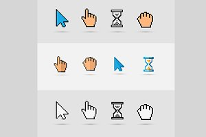 Pixel colorful cursors icons