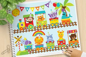 Animal Zoo Train - Vector Clipart