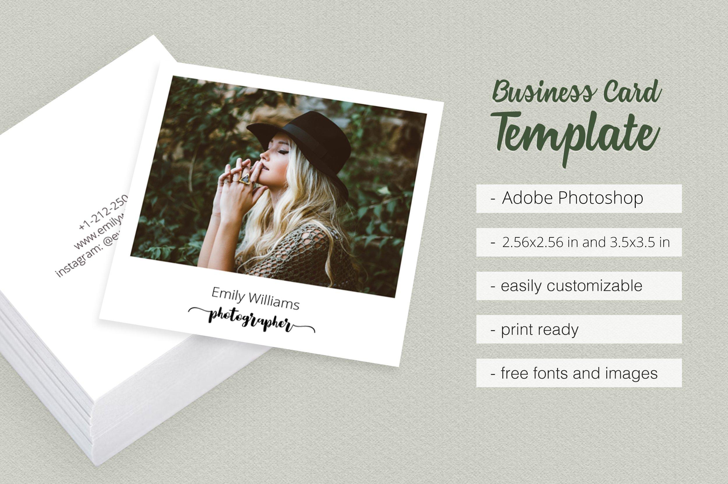 Square Polaroid Business Card Templates Creative Market
