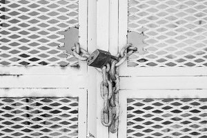 Padlock Iron Gate in Black and White