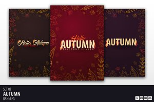 Autumn banners with doodle leaves