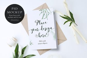 Peony leaves and 5x7 card Mockup