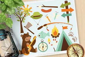 Bear Camping, Woodland Clipart
