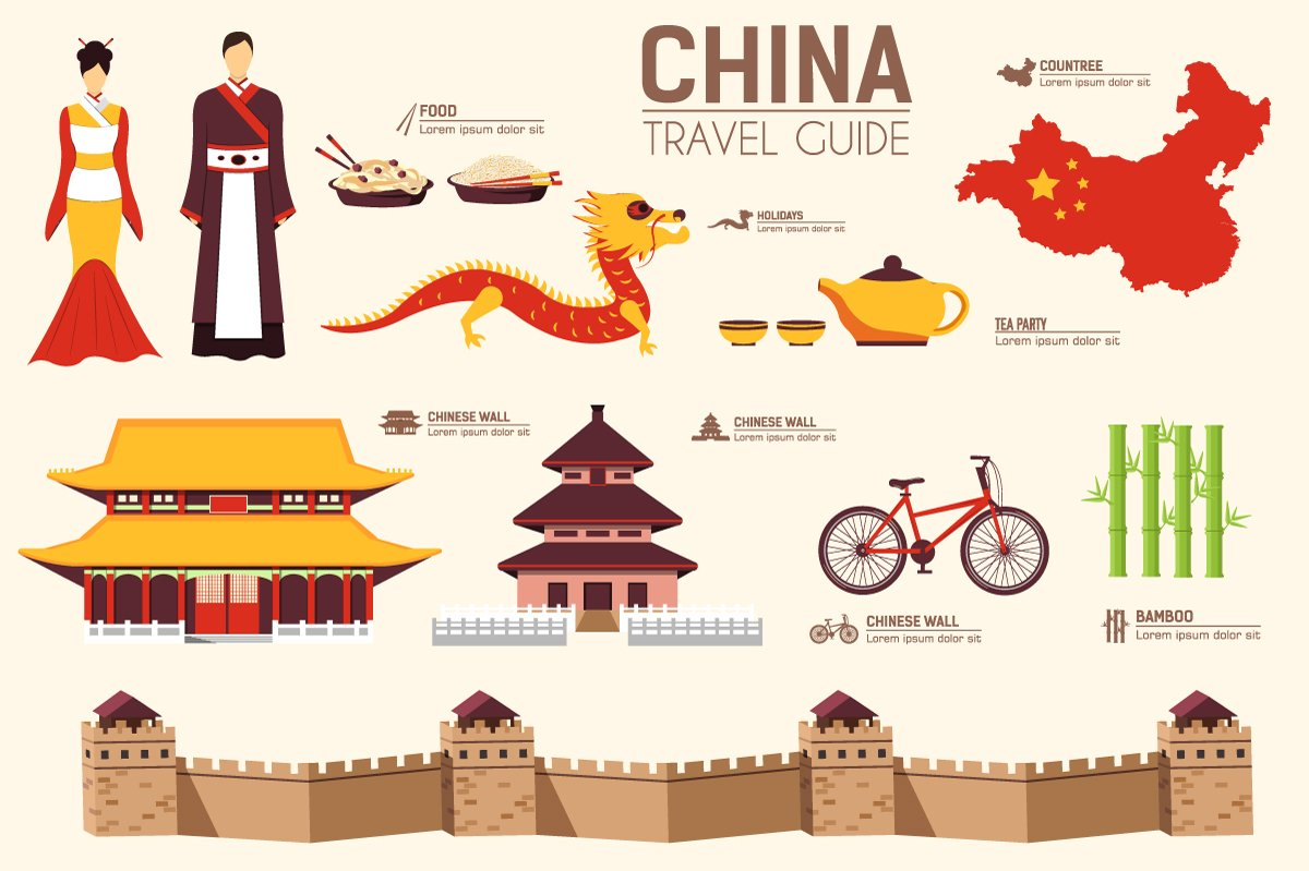 China country flat vector icons set icons creative market for Chinese vector