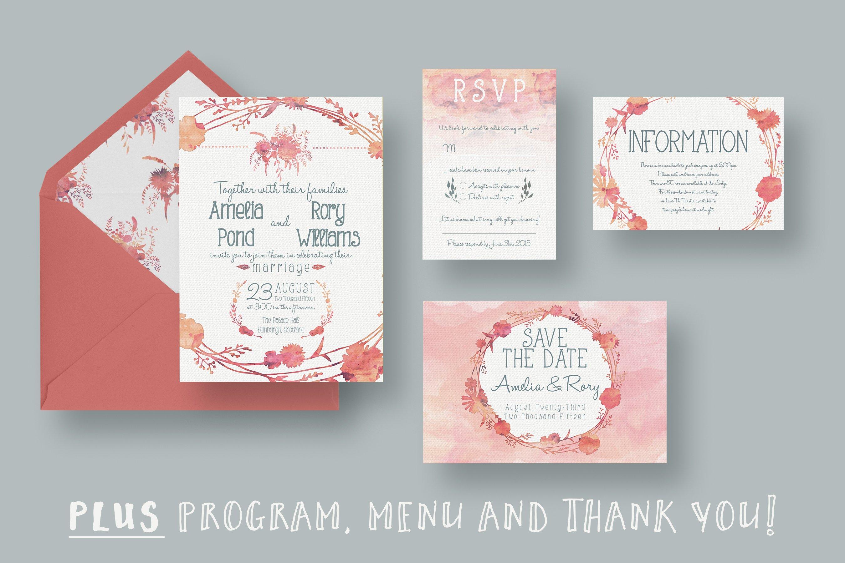 Watercolour Wedding Suite 2.0 - Invitation Templates | Creative ...