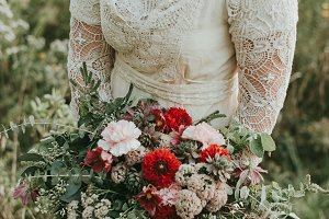 Boho Girl in Forest Messy Bouquet