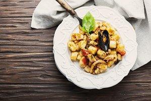 Italian potato gnocchi with seafood