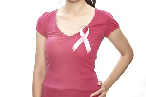 Woman pink ribbon cancer point