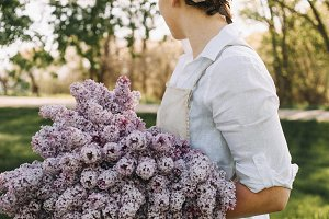 Country Girl with Bouquet of Lilacs