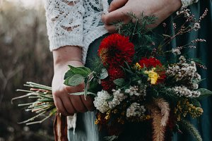 Fall Bouquet Held By A Girl