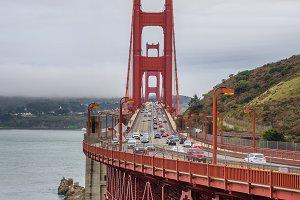 Traffic on the Golden Gate Bridge