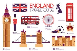 England country flat vector icon set
