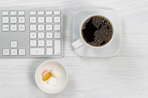Coffee and supplements at the office