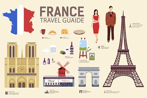 France country flat vector icons set