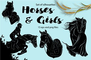 Horses & girls - silhouettes set