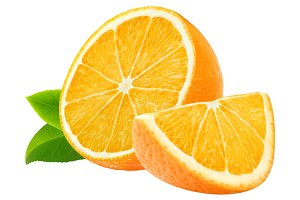 Cut oranges isolated