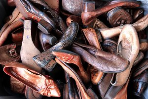 Old weathered shoes dump