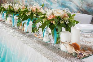 Decorations on table in wedding day