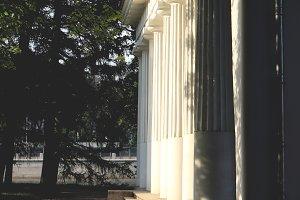 Ancient building pillars row