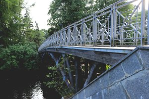 Concrete wood bridge