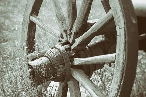 Old wooden cart wheel