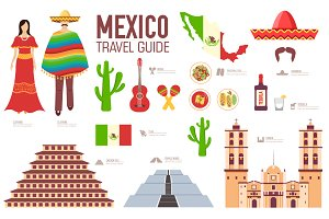 Mexico country flat vector icons set