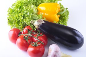 Fresh assorted vegetables, eggplant