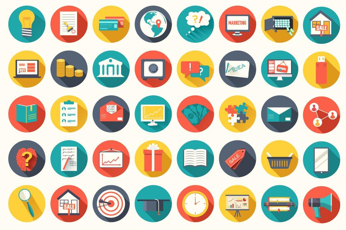40 universal business flat icon set icons creative market