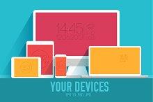 4 vector of flat personal gadgets