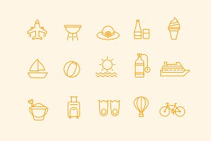 15 Summer Line Icons