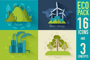Flat and concepts of ecology icons