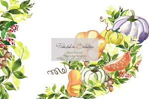 Pumpkin season watercolor clipart
