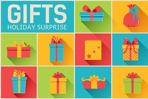 Presents gifts set on flat vector