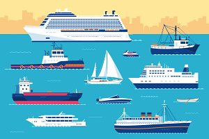 Set of flat yacht, ships, boats