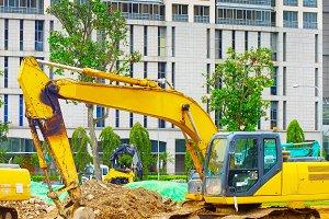 Excavators bulldozer industrial city