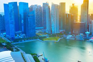 Singapore business Downtown  sunset