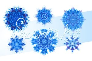 Set of 10 watercolor snowflakes