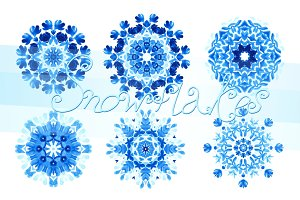 Set of 20 watercolor snowflakes