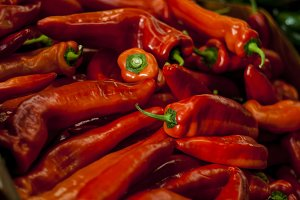 Bright red chile peppers