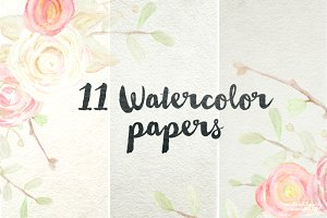 11 Digital Watercolor Papers