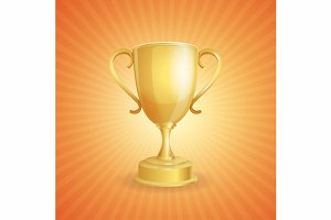 Vector golden winner cup on light