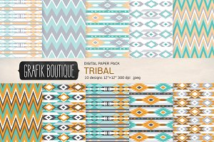 Tribal pattern digital paper pack