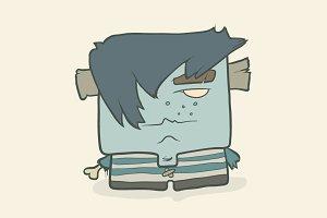 Cartoon boy zombie in a striped vest