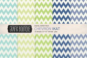 Chevron ikat mint navy papers
