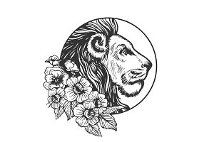 Lion head animal engraving vector