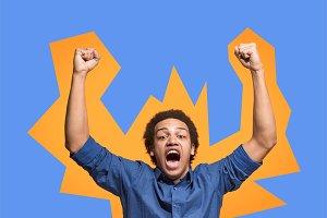 Winning success man happy ecstatic
