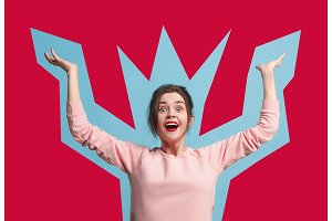 Winning success woman happy ecstatic