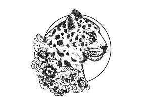 Leopard head animal engraving vector