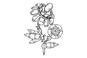 Mechanical flower engraving vector