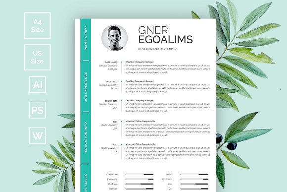 Modern Resume/CV Template in Resume Templates